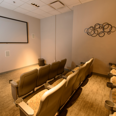 Movie screening room at apartment in Wilmington, DE
