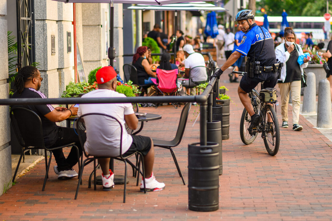 People dining outdoors in Downtown Wilmington DE