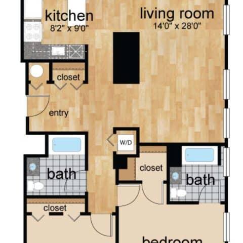 Floor Plan for 2 Bedroom Apartment Wilmington, DE