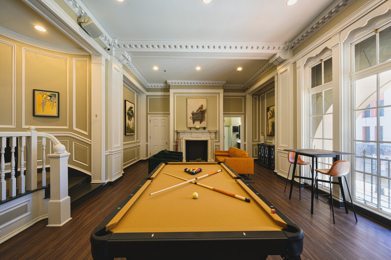 Resident Lounge with Pool Table Residences at Rodney Square